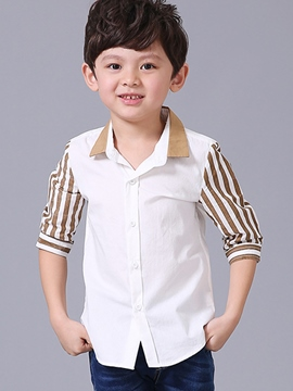 Ericdress Stripe Sleeve Boys Shirt