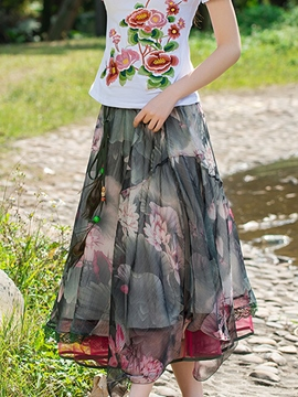 Ericdress Ethic Two Way Wear Print Maxi Skirt