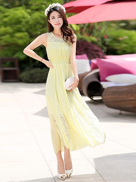 Ericdress Sleeveness Lace-Up Maxi Dress