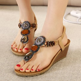 Ericdress Ethnic Beads Wedge Sandals