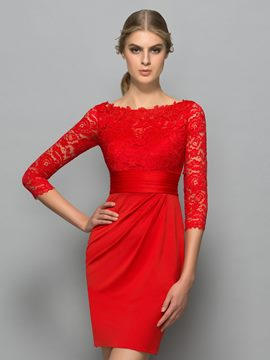 Ericdress Bateau Neck 3/4 Length Sleeve Lace Cocktail Dress