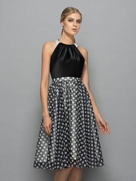 Ericdress Halter Knee-Length Polka Dots Cocktail Dress