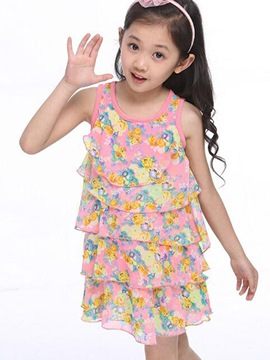 Ericdress Floral Print Layered Girls Dress