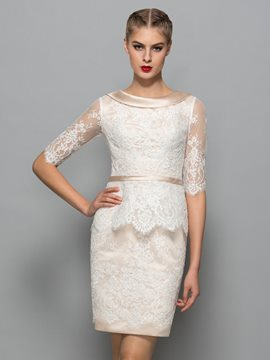 Ericdress Scoop Neck Half Sleeves Column Lace Cocktail Dress
