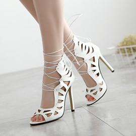 Ericdress Sexy Patent Leather Lace up Stiletto Sandals