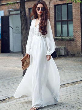 Ericdress Solid Color High-Waist Expansion Maxi Dress