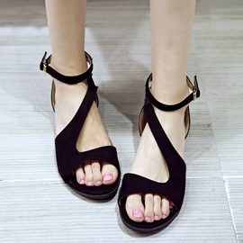 Ericdress Low Heel Plain Open Toe Flat Sandals