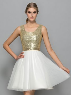 Ericdress Scoop Neck Sequins Short Prom Dress