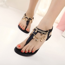 Ericdress Chain Elastic Band Thong Flat Sandals