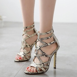 Ericdress Snake Print Hollow Out Stiletto Sandals