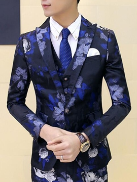 Ericdress Floral Print Three-Piece of Vogue Slim Men's Suit