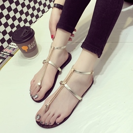 Ericdress T-Shaped Buckle Chain Ankle Strap Flat Sandals