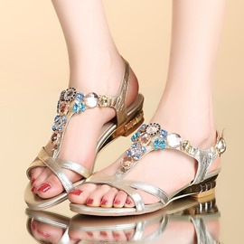 Ericdress Rhinestone T-Shaped Buckle Flat Sandals