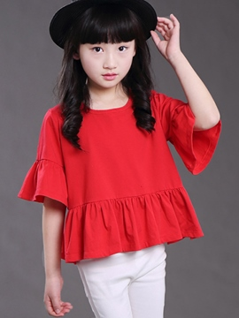 Ericdress Plain Pleated Girls T-Shirt
