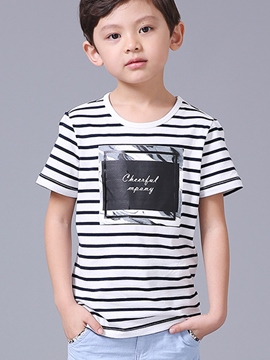 Ericdress Stripe Letter Print Short Sleeve Boys T-Shirt