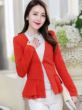 Ericdress Solid Color Buckle Peplum Blazer