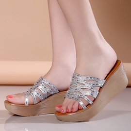 Ericdress Shining Sequins Wedge Mules Shoes
