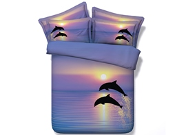 Ericdress Sweet Couple Dolphins Playing Print 3D Bedding Sets