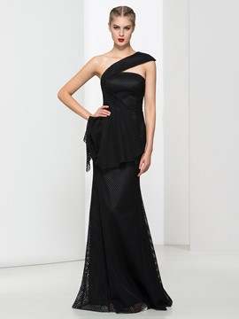Ericdress Off-the-Shoulder Sheath Draped Floor-Length Evening Dress