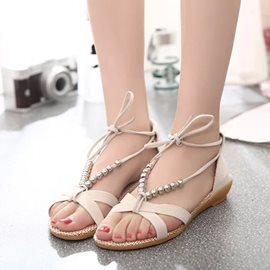 Ericdress Roman Beads Lace up Flat Sandals