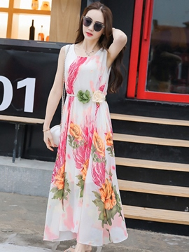 Ericdress Beach Print Expansion Maxi Dress