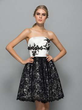 Ericdress Strapless Appliques Lace Short Cocktail Dress