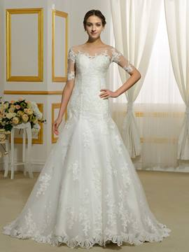 Ericdress Beautiful Sheer Neck Wedding Dress With Sleeves