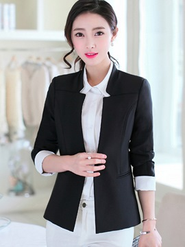 Ericdress Unique Collar Solid Color Blazer