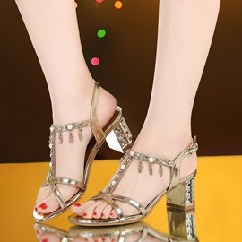 Ericdress Fashion Rhinestone&Tassels Chunky Sandals