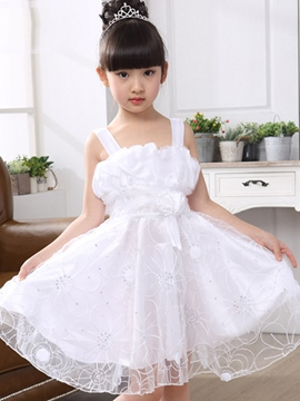 Ericdress Pleated Mesh Girls Dress