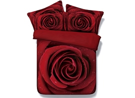 Ericdress Red Rose Print 3D Bedding Sets