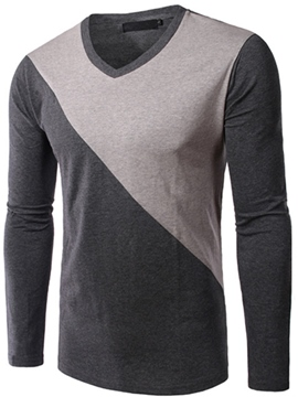 Ericdress Color Block V-Neck Long Sleeve Men's T-Shirt