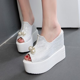 Ericdress Lace Pearl Wedge Mules Shoes