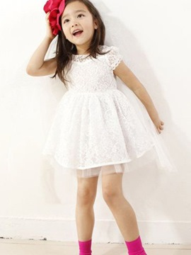 Ericdress Lace Mesh Short Sleeve Girls Dress