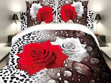 Ericdress Wild Leopard Red White Rose Print Bedding Sets