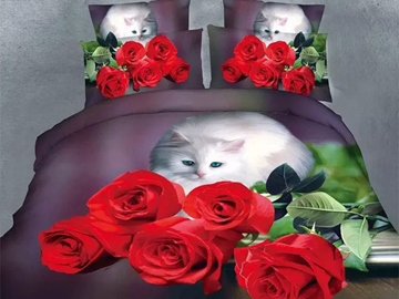 Ericdress Red Rose And White Cat Print Bedding Sets