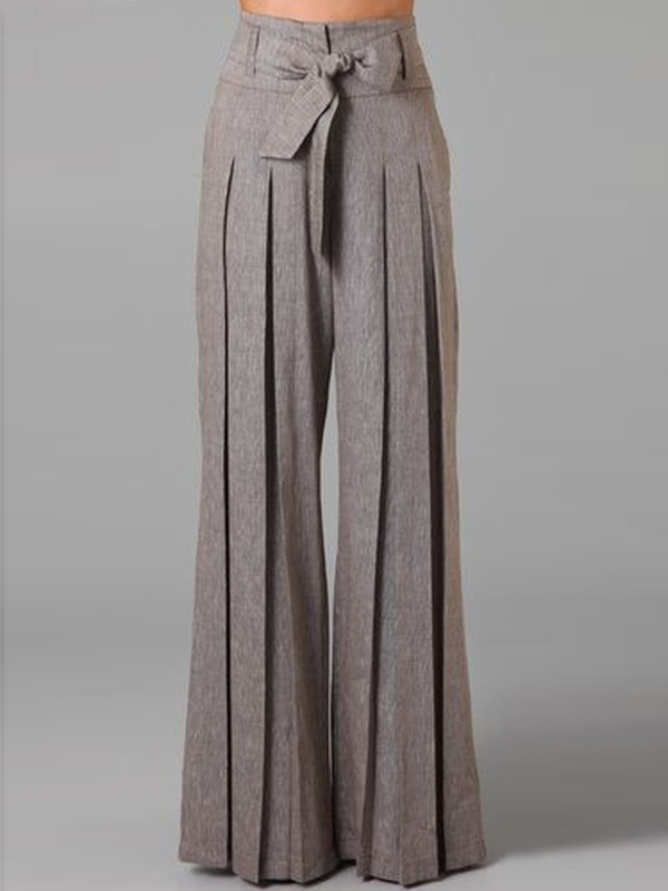 Ericdress Wide Legs Lace-Up Pleated Pants