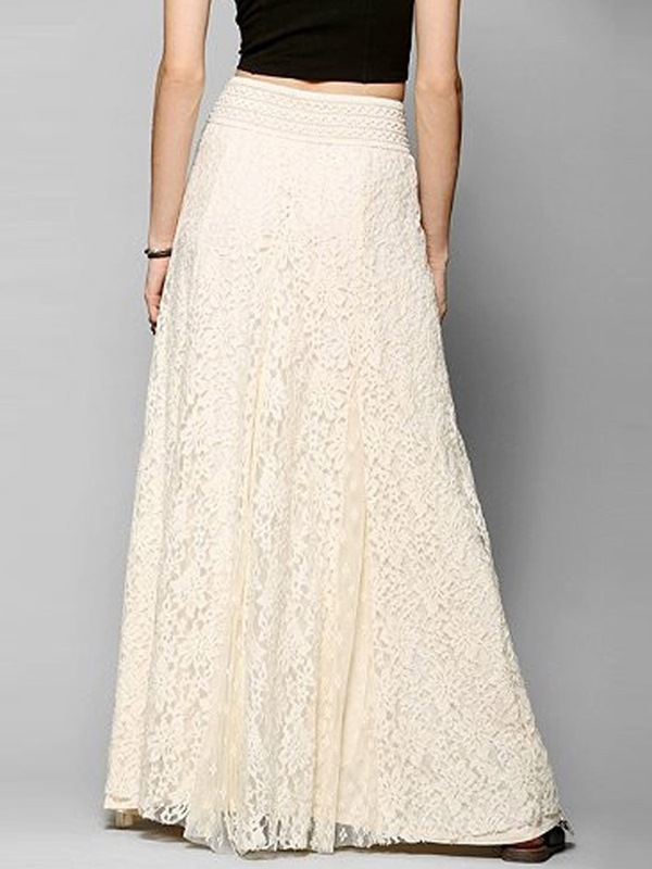 ericdress solid color lace maxi skirt 11898251 ericdress