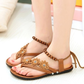 Ericdress Bead Toe Ring Lace-Up Flat Sandals