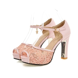 Ericdress Lace Peep Toe Stiletto Sandals