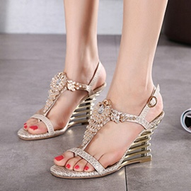 Ericdress T-Shaped Buckle Rhinestone Wedge Sandals