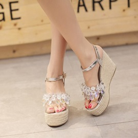 Ericdress Bling Rhinestone Open Toe Wedge Sandals