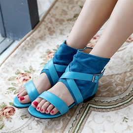 Ericdress Fashion Patchwork Buckles Flat Sandals
