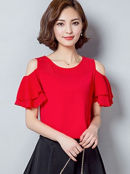 Ericdress Off-Shoulder Frill Blouse