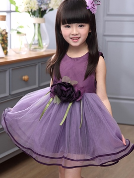 Ericdress Mesh Patchwork Girls Sleeveless Girls Dress