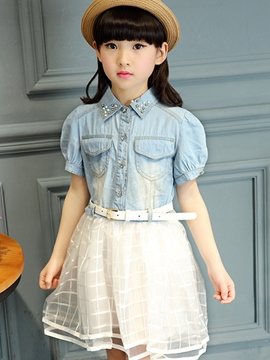 Ericdress Denim Mesh Patchwork Girls Dress