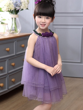 Ericdress Plain Mesh Sleeveless Girls Dress