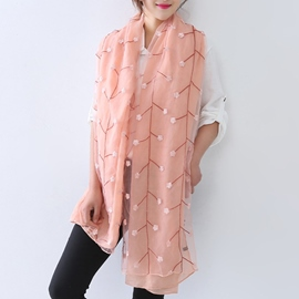 Ericdress Solid Color Flower Cotton Scarf