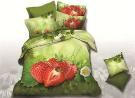 Ericdress Strawberry Harvest Print 3D Bedding Sets