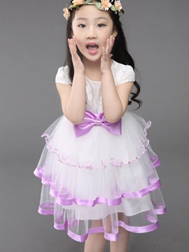 Ericdress Bowknot Mesh Girls Dress